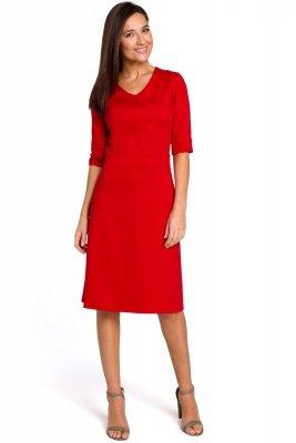 S153 Sukienka dzianinowa z dekoltem V - czerwona