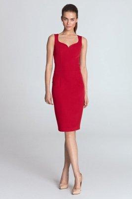 Sukienka z dekoltem w kształcie serca - czerwony - S113