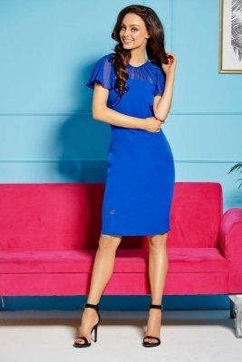 Elegancka sukienka z szyfonowymi rękawami i dekoltem L299 chaber