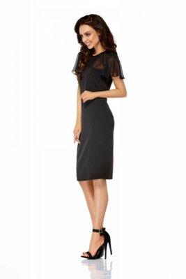 Elegancka sukienka z szyfonowymi rękawami i dekoltem L299 czarny