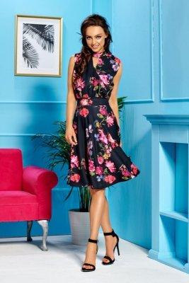 Kopertowa sukienka bez rękawów do kolan L306 czarny