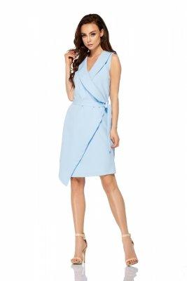 Sukienka kopertowa wiązana w pasie bez rękawów L308 błękitny