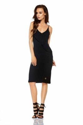 Sukienka sweterkowa na ramiączkach z falbaną LSG102 czarny