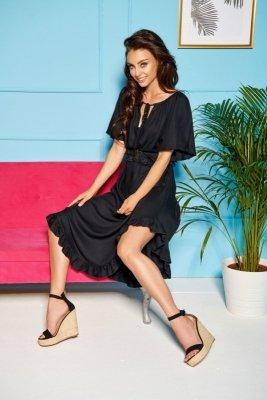 Sukienka z falbanką na dole i koronkowym paskiem LG501 czarny