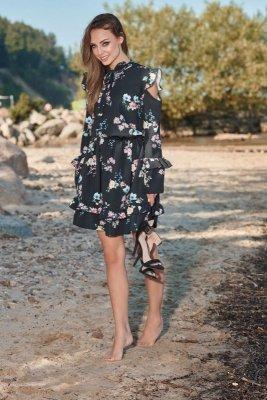 1 Sukienka  L276 czarny w kwiatki PROMO