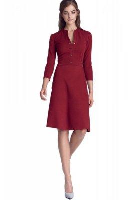 Sukienka zapinana na napy - bordo - S123
