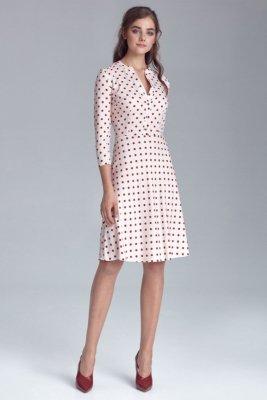 Sukienka zapinana na napy - krem/grochy - S129