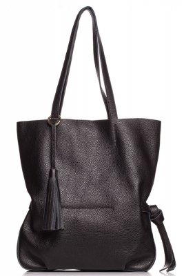 SB700 Stylowa torebka z ozdobnymi frędzlami - czarna