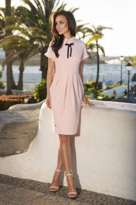 1 Modna elegancka sukienka L234 pudrowy róż PROMO