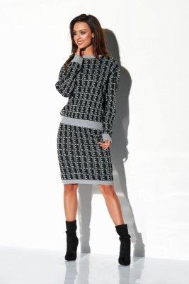 Komplet monogramy sweterek i spódniczka LSG108 czarny-jasnoszary
