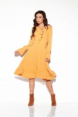 Sukienka ze sznurowanym dekoltem kolor  L313 kamel