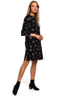M445 Sukienka z falbankami przy rękawach - czarna