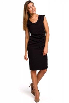 S174 Sukienka z dekoltem i marszczeniem na przodzie - czarna