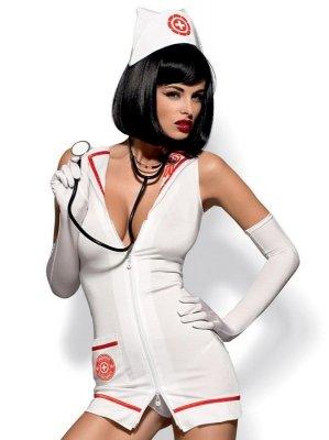 KOMPLET OBSESSIVE EMERGENCY DRESS+STETOSKOP pielęgniarka