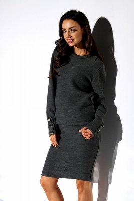 Elegancki komplet sweter i spódnica LSG118 grafit