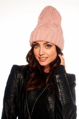 Klasyczna zimowa czapka damska LC112 pudrowy róż