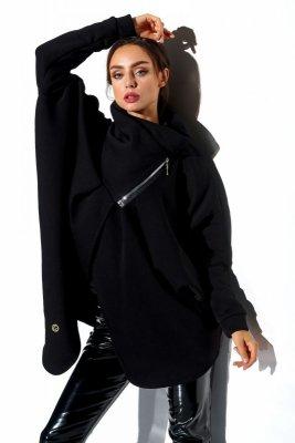 Bluza o oversizowym kroju z zamkiem LN100 czarny