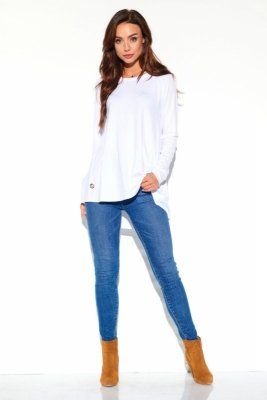Luźna dłuższa basicowa bluzka LN111 biały