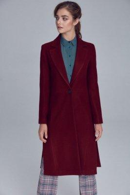 Płaszcz jednorzędowy - bordo - PL07