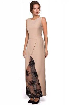 K012 Długa sukienka wieczorowa z koronkowym dołem - beż