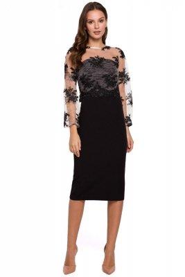 K013 Sukienka ołówkowa z koronkową górą - czarna