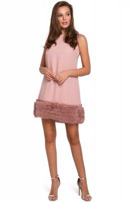 K038 Sukienka z pasem marszczonego tiulu - pudrowa