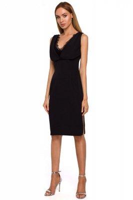 M486 Sukienka z koronkową wstawką w dekolcie - czarna