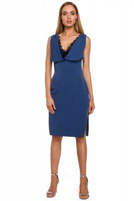 M486 Sukienka z koronkową wstawką w dekolcie - niebieska