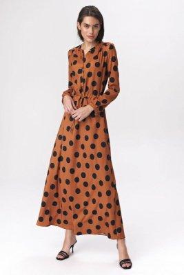 Brązowa sukienka maxi w grochy - S140