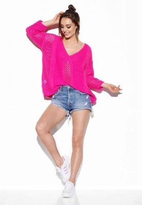 Ażurowy sweter z wiązaniem na plecach LS281 ostry róż