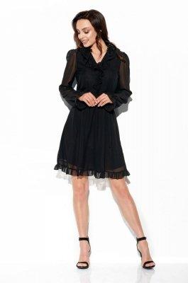 Szyfonowa sukienka z jedwabiem i żabotem kolor L327 czarny