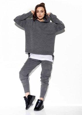 Modny komplet swetrowy z bojówkami LSG123 grafit