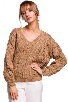 M510 Ażurowy sweter z dekoltem w serek - beżowy