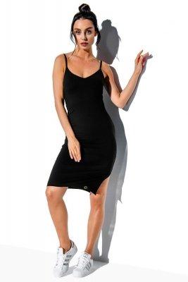Basicowa bawełniana sukienka na ramiączkach LN118 czarny