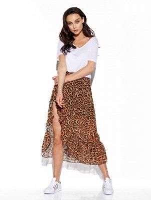 Długa spódnica z falbaną i jedwabiem LG542 druk 21