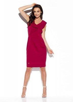 Elegancka sukienka z falbaną L337 bordo