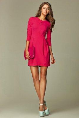 Różowa sukienka w kształcie bombki - S32