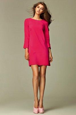 Różowa sukienka z zamkiem na plecach - S28