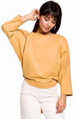 B139 Bluza nietoperz z guzikami i wiązaniem z tyłu - żółta