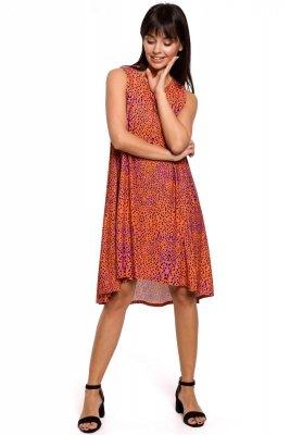 B141 Sukienka z nadrukiem bez rękawów - pomarańczowa
