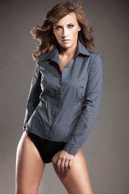 Elegancka szara koszula body - K22