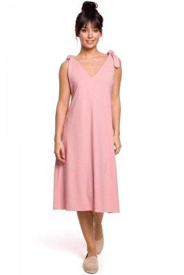 B148 Sukienka na wiązanych ramiączkach - różowa