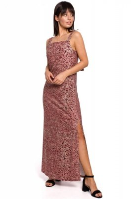B152 Sukienka maxi na regulowanych ramiączkach - łososiowa