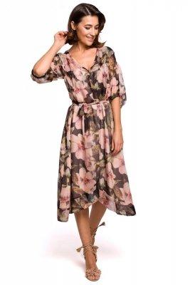 S226 Sukienka szyfonowa midi z asymetrycznym dołem - model 3