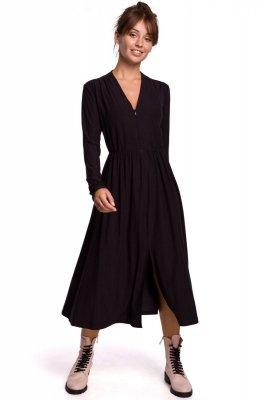 B171 Sukienka rozkloszowana z zamkiem - czarna