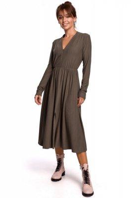 B171 Sukienka rozkloszowana z zamkiem - khaki