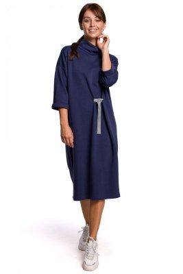 B181 Sukienka midi z ozdobnym wiązaniem - niebieska
