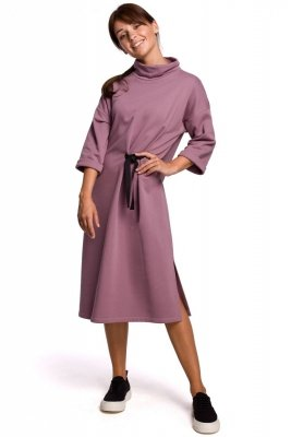 B181 Sukienka midi z ozdobnym wiązaniem - wrzosowa