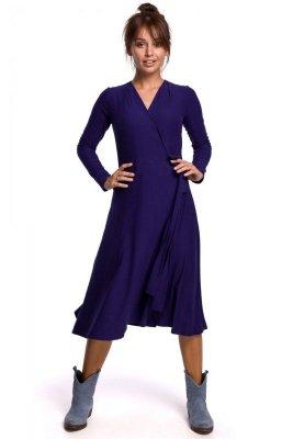 B184 Sukienka kopertowa z wiązaniem - indygo