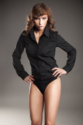 Czarna koszula damska body - K22